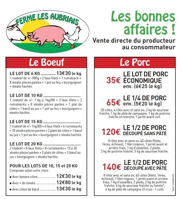 Bonnes Affaires : Lots Porc et Bœuf